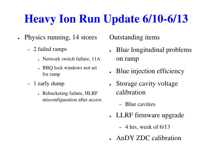 Heavy Ion Run Update 6/10-6/13