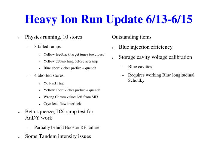 Heavy Ion Run Update 6/13-6/15