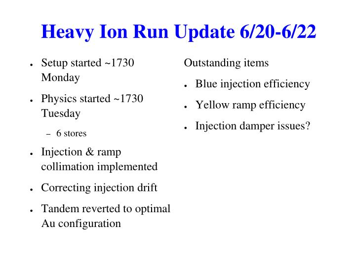 Heavy Ion Run Update 6/20-6/22
