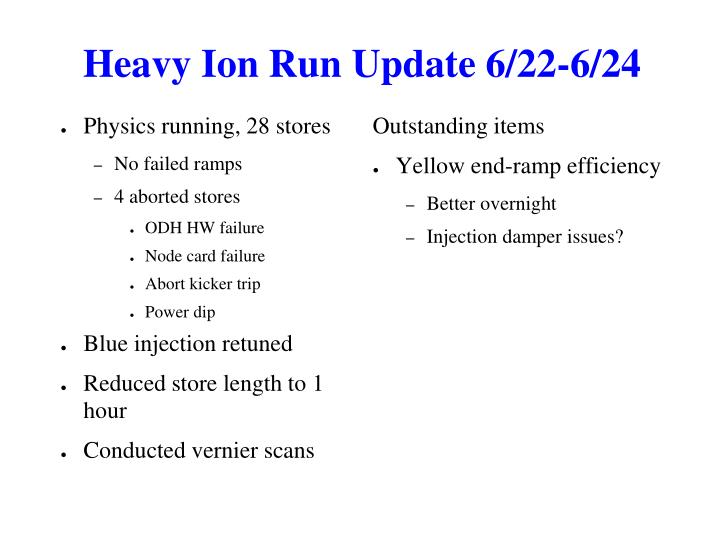 Heavy Ion Run Update 6/22-6/24