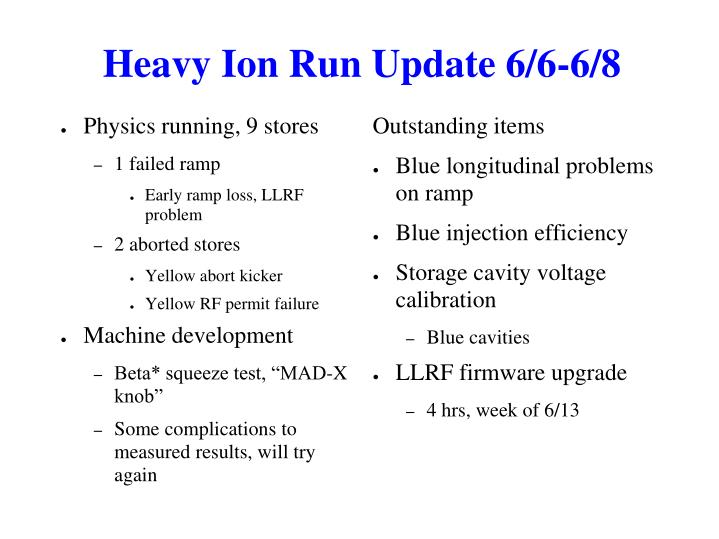 Heavy Ion Run Update 6/6-6/8