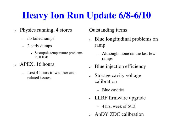 Heavy Ion Run Update 6/8-6/10