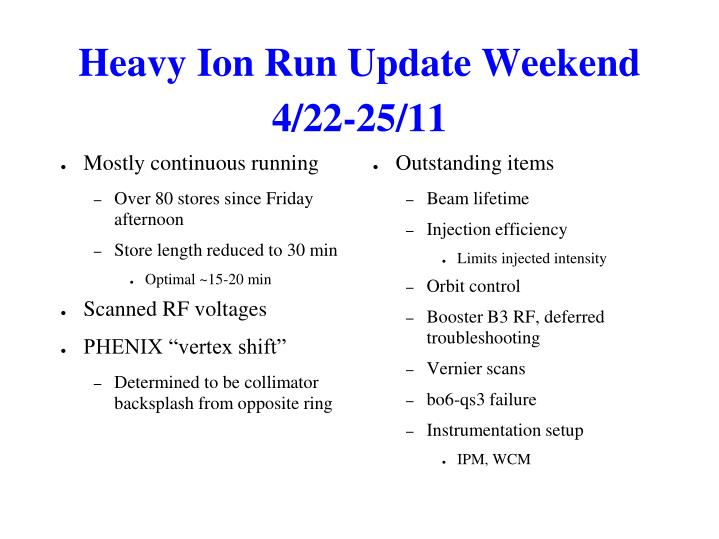Heavy Ion Run Update Weekend 4/22-25/11