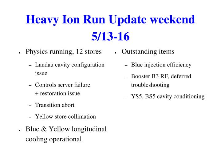 Heavy Ion Run Update weekend 5/13-16