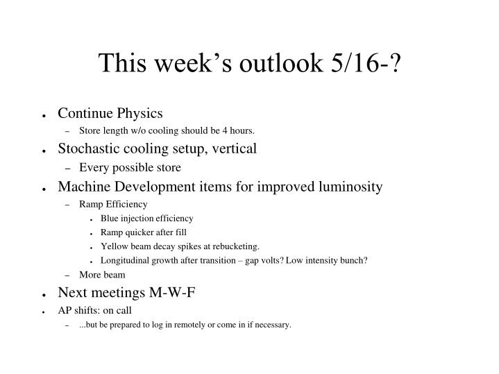 This week's outlook 5/16-?