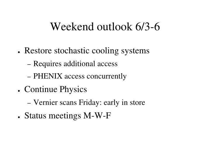 Weekend outlook 6/3-6