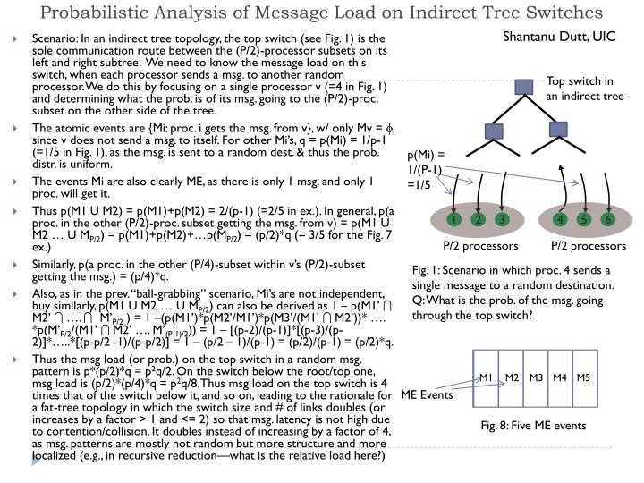 Probabilistic Analysis of Message Load on Indirect Tree Switches