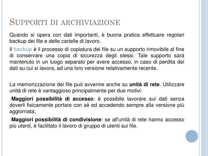 Supporti di archiviazione