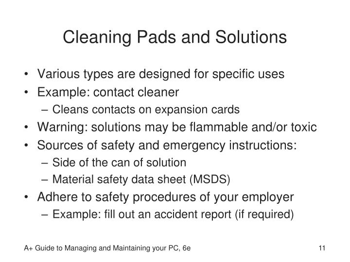 Cleaning Pads and Solutions