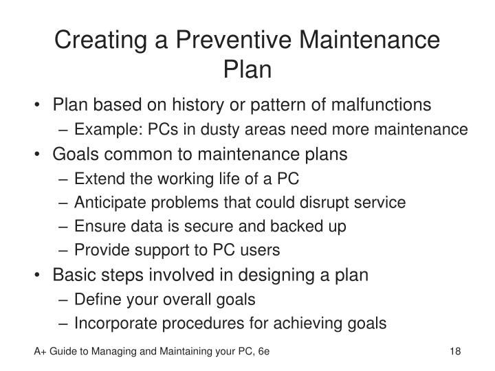 Creating a Preventive Maintenance Plan