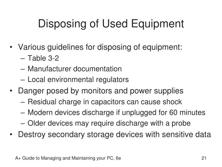 Disposing of Used Equipment