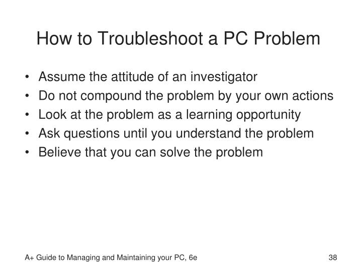 How to Troubleshoot a PC Problem