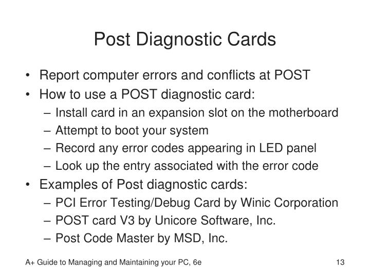 Post Diagnostic Cards