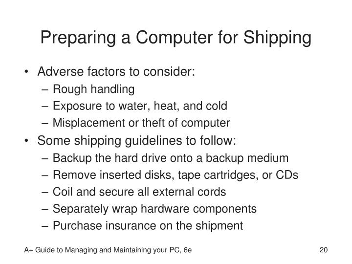 Preparing a Computer for Shipping