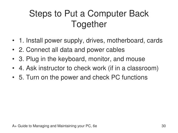 Steps to Put a Computer Back Together