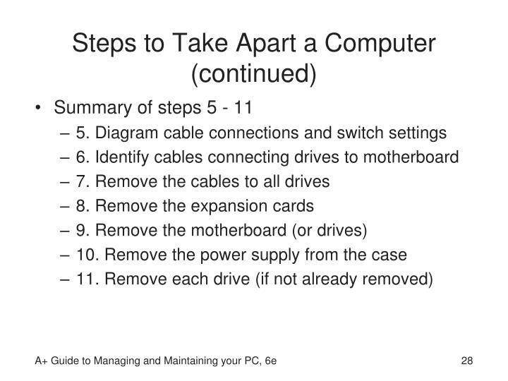 Steps to Take Apart a Computer (continued)