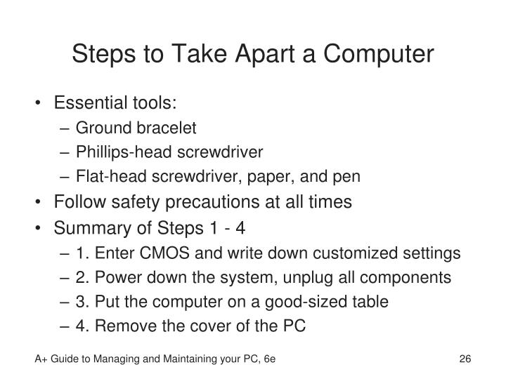 Steps to Take Apart a Computer