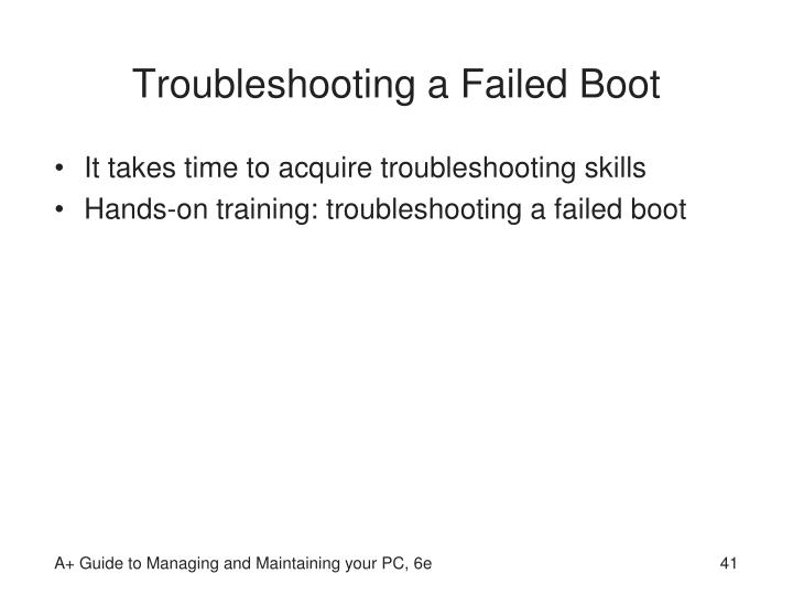 Troubleshooting a Failed Boot