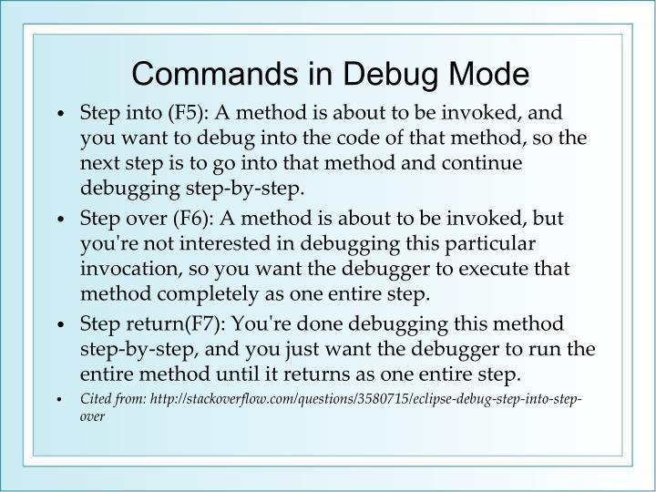 Commands in Debug Mode