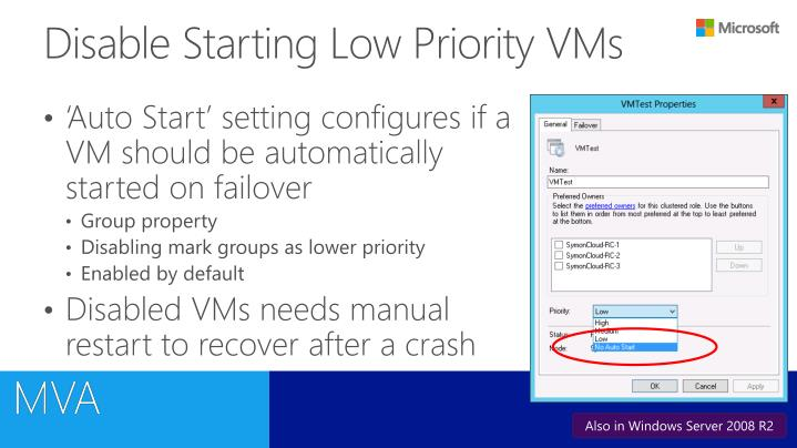 Disable Starting Low Priority VMs
