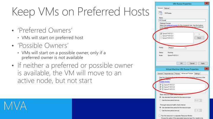 Keep VMs on Preferred Hosts