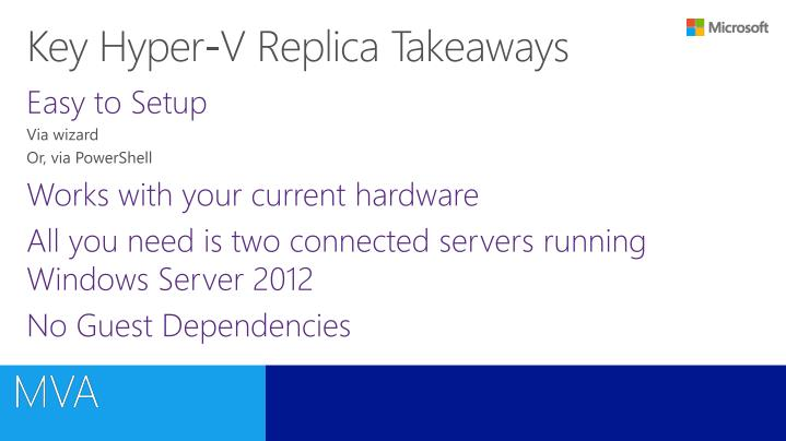 Key Hyper-V Replica Takeaways