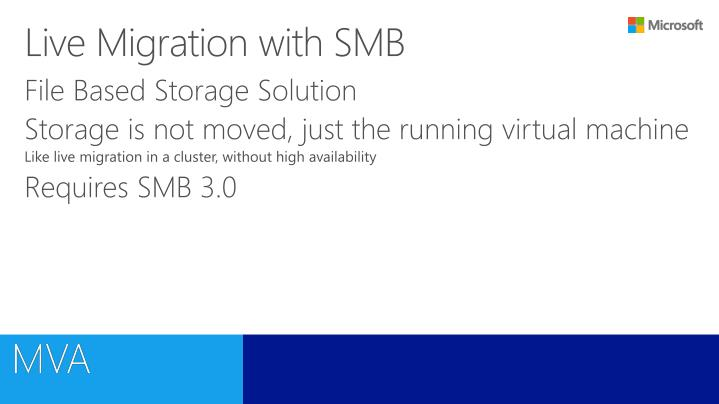 Live Migration with SMB