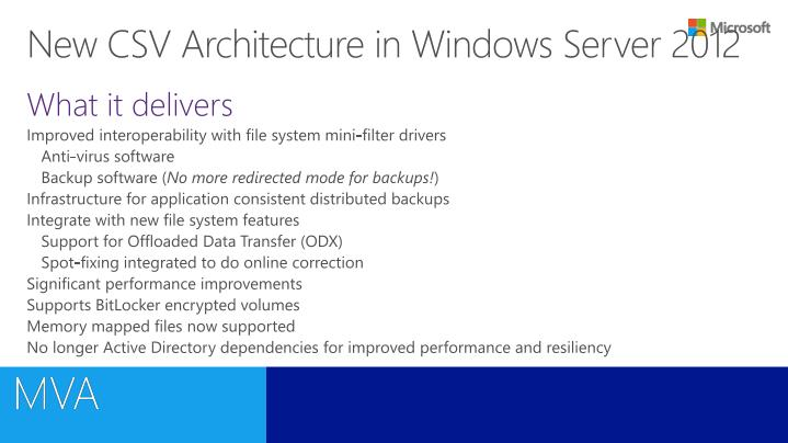New CSV Architecture in Windows Server 2012