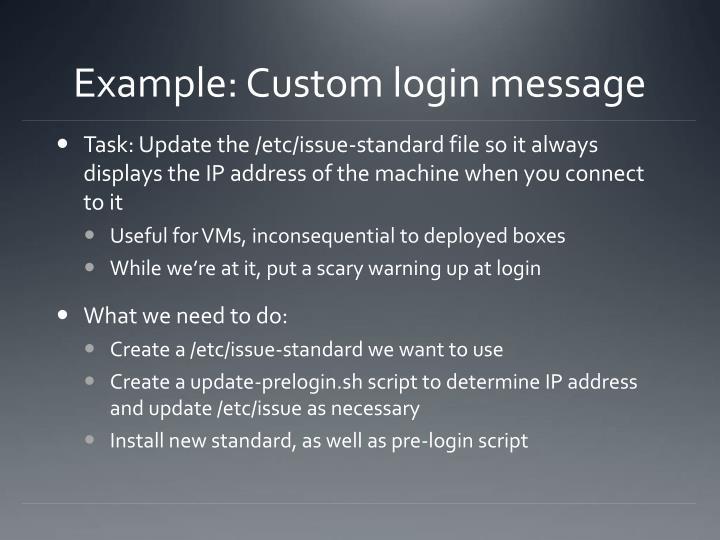 Example: Custom login message