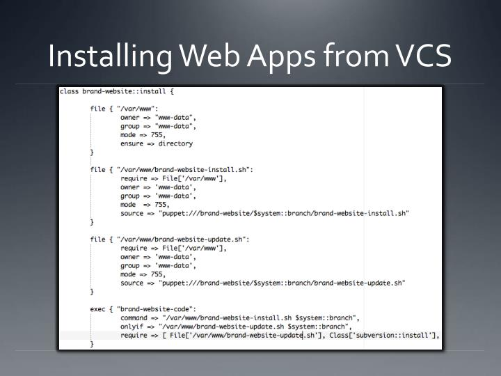 Installing Web Apps from VCS