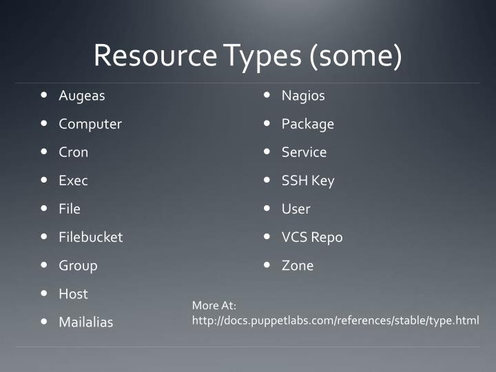 Resource Types (some)