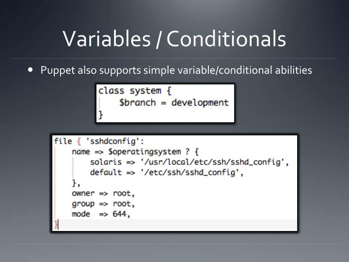 Variables / Conditionals