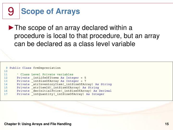 Scope of Arrays