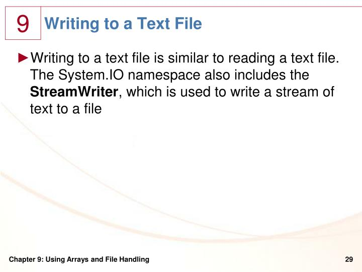 Writing to a Text File