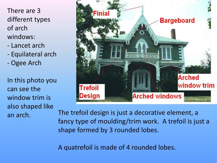 There are 3 different types of arch windows: