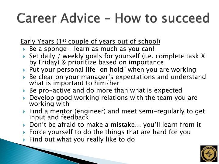 Career Advice – How to succeed