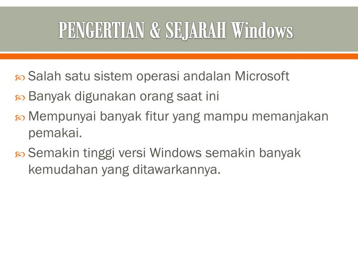 Pengertian sejarah windows
