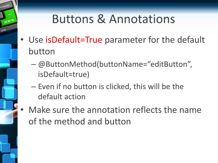 Buttons & Annotations