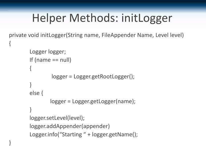 Helper Methods: