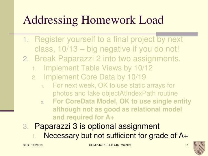 Addressing Homework Load