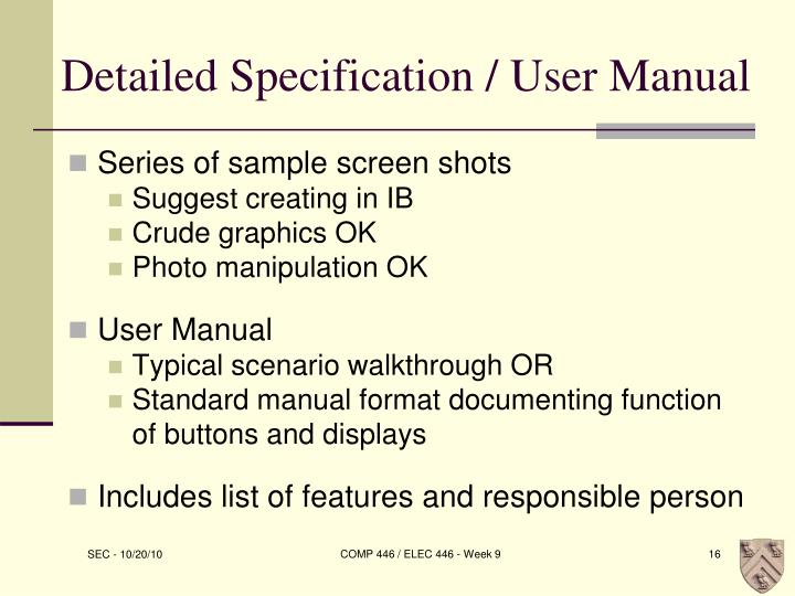 Detailed Specification / User Manual
