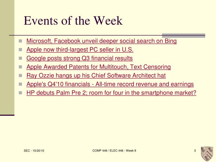 Events of the Week