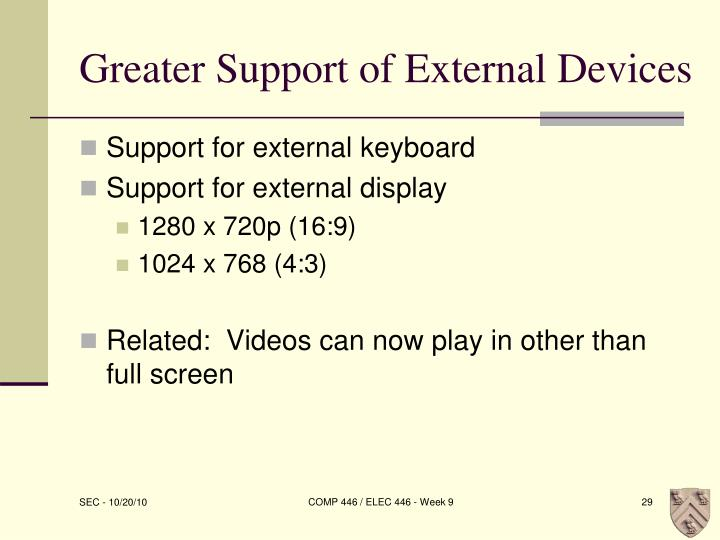 Greater Support of External Devices