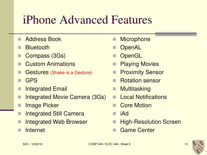 iPhone Advanced Features