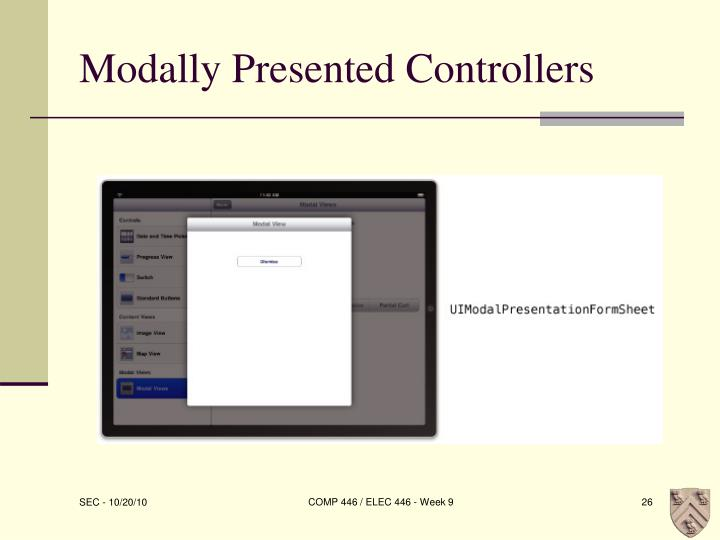 Modally Presented Controllers