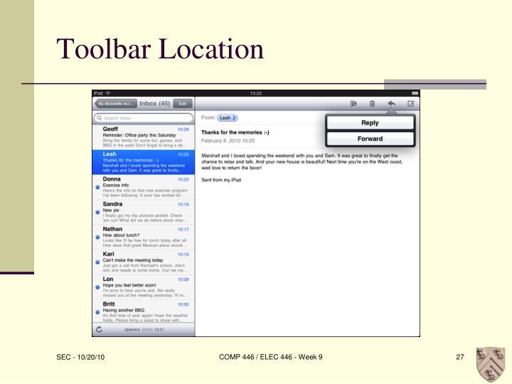 Toolbar Location