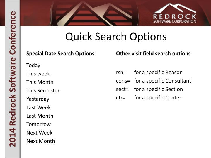 Quick Search Options