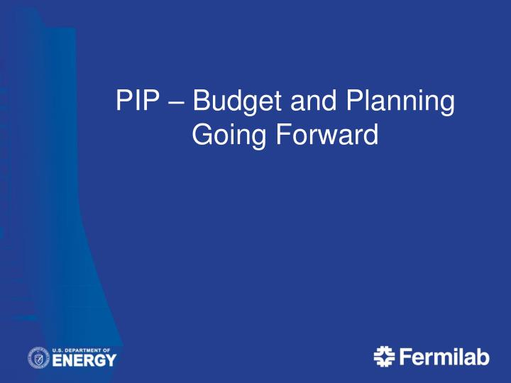 PIP – Budget and Planning