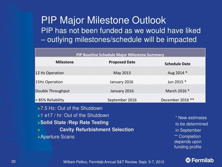 PIP Major Milestone Outlook
