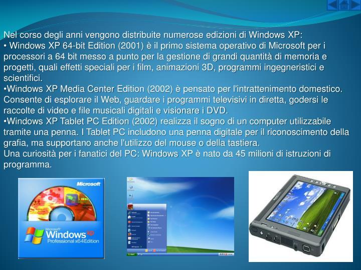 Nel corso degli anni vengono distribuite numerose edizioni di WindowsXP: